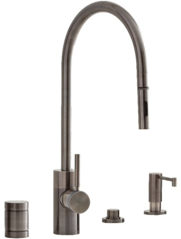 Positive Lock Extended Reach Pulldown Kitchen Faucet 4 Piece Suite