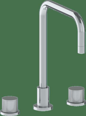 Titanium Deck Mounted 3 Hole Square Top Kitchen Faucet