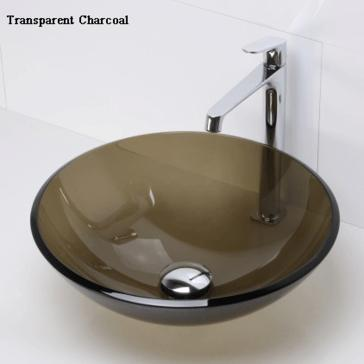 Decolav 1112t translucence 12mm tempered transparent glass above counter vessel for Above counter bathroom sinks glass