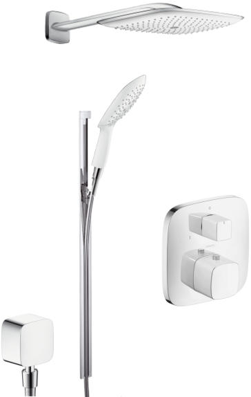 hansgrohe puravida set 1 puravida thermostatic shower set with showerhead and handshower. Black Bedroom Furniture Sets. Home Design Ideas