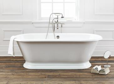 Cheviot 2163 WW Sandringham Cast Iron Freestanding Soaker Tub With  Continuous Rolled Rim QualityBath Com