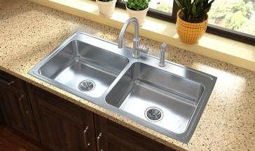 43 x 22 kitchen sink elkay lr4322 lustertone 43 quot kitchen sink qualitybath 7359
