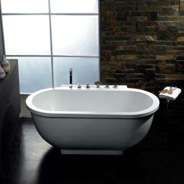 Free Standing Jetted Soaking Tub. Ariel AM128JDCLZ image 1  Oval Free Standing Whirlpool Bath Tub With All
