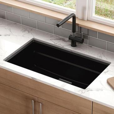 Franke Black Kitchen Sinks Franke pkg11031 peak 32 granite kitchen sink qualitybath workwithnaturefo