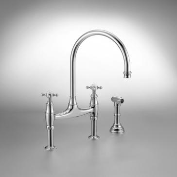 Rohl U.4719L-PN-2 Perrin & Rowe Bridge Faucet With Sidespray ...
