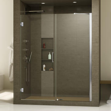 dreamline shdr 20477210c unidoor 47 23 inch shower door with 24 stationary panel and support. Black Bedroom Furniture Sets. Home Design Ideas