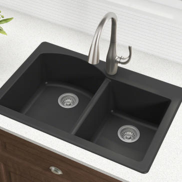 black granite kitchen sinks kraus kgd 50 forteza 22 quot dual mount 60 40 bowl 4682