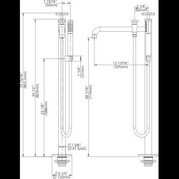 Lefroy Brooks K1 2300 Bn Kafka 2010 Cross Handle Single Leg Bath Shower Mixer Qualitybath Com