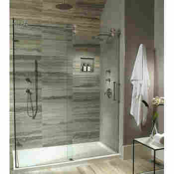 Boutique Collection Solid Surface Low Profile Multiple Threshold Rectangular Shower Base With Hidden End Drain