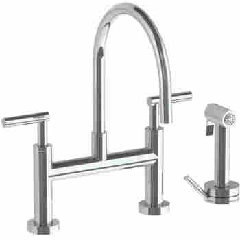 Loft 2.0 Deck Mounted Bridge Gooseneck Kitchen Faucet with Independent Side  Spray