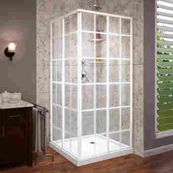 product framed by garden cornerview in sliding corner shower dreamline enclosure home