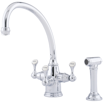 Georgian Era Traditional Etruscan Triflow 3 Lever Kitchen Faucet With Broken Neck Spout Sidespray