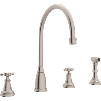 Georgian Era 4 Hole C Spout Kitchen Faucet With Sidespray