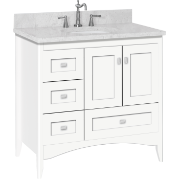 Strasser Woodenworks 33 218 Wallingford 36 Vanity With Left Hand Drawers And Shaker Doors Qualitybath Com