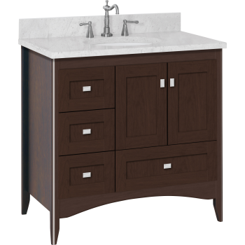 Strasser woodenworks wallingford vanity with left hand drawers and shaker doors for 36 bathroom vanity left hand drawers