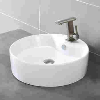Satin Nickel Kraus KCV-142-SN White Round Ceramic Bathroom Sink and Pop Up Drain with Overflow