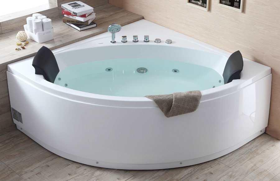 Eago AM200 5\' Rounded Modern Double Seat Corner Whirlpool Bath Tub ...