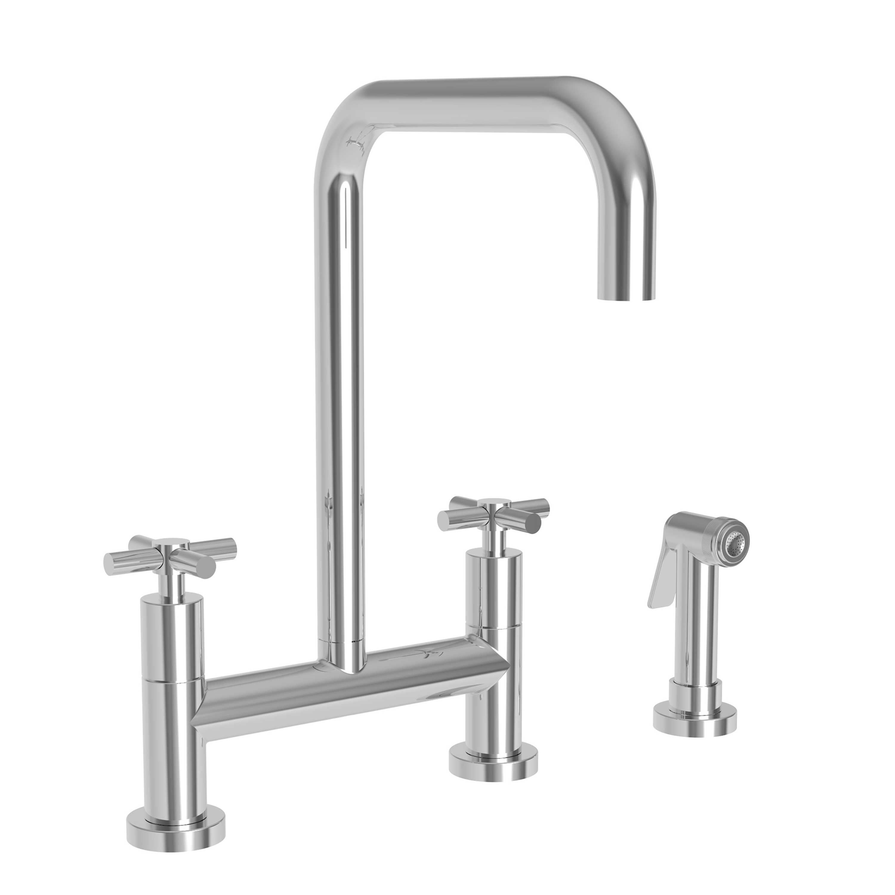 Newport Brass 1400-5413/01 East Square Kitchen Bridge Faucet with Side Spray