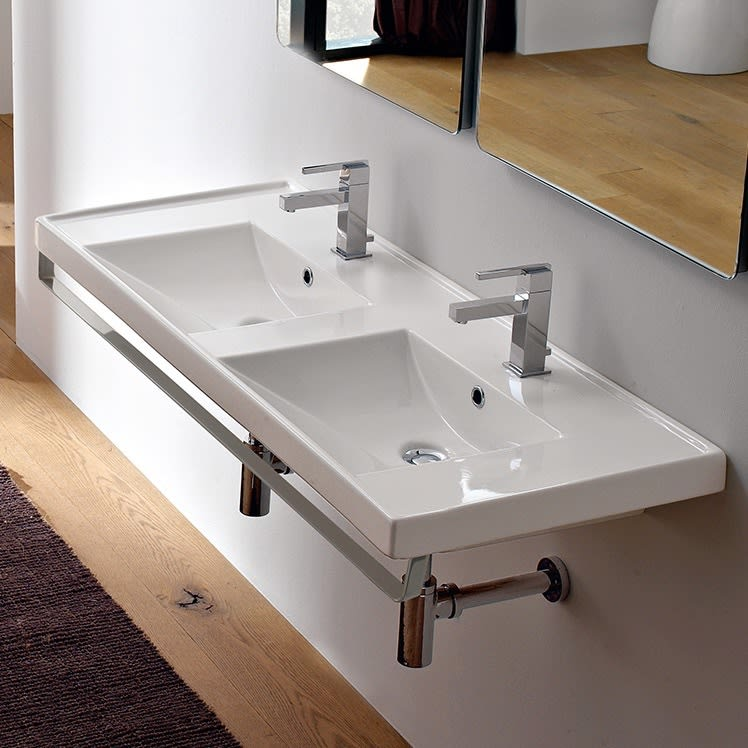 Scarabeo 3006 Tb Double Bowl Bathroom Sink With Towel Bar