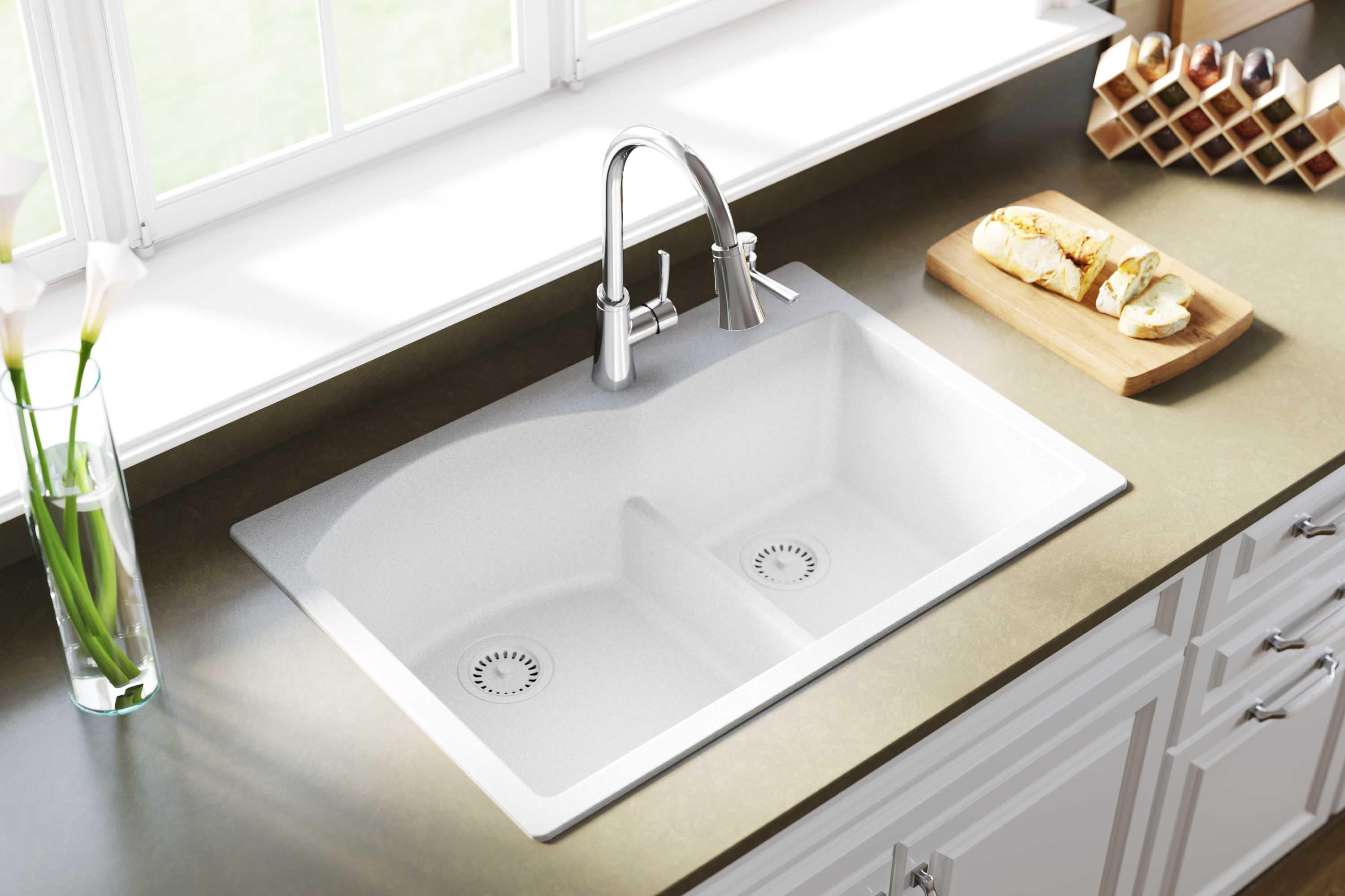 amazing marble countertop sink design and modern faucet.htm elkay elgh3322r quartz classic 33  kitchen sink qualitybath com  elkay elgh3322r quartz classic 33