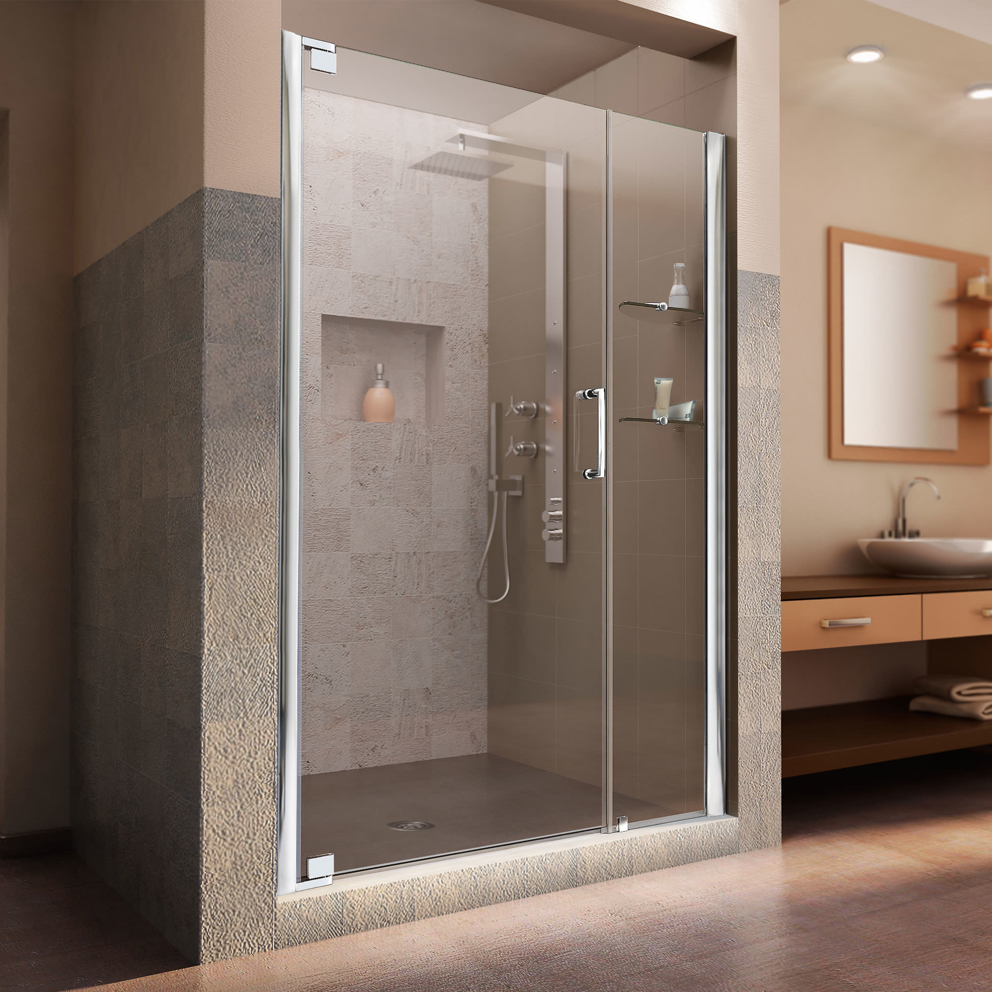 Dreamline Shdr 4152720 Elegance 52 3 4 28 3 4 Shower Door With 24 Stationary Panel And Shelves