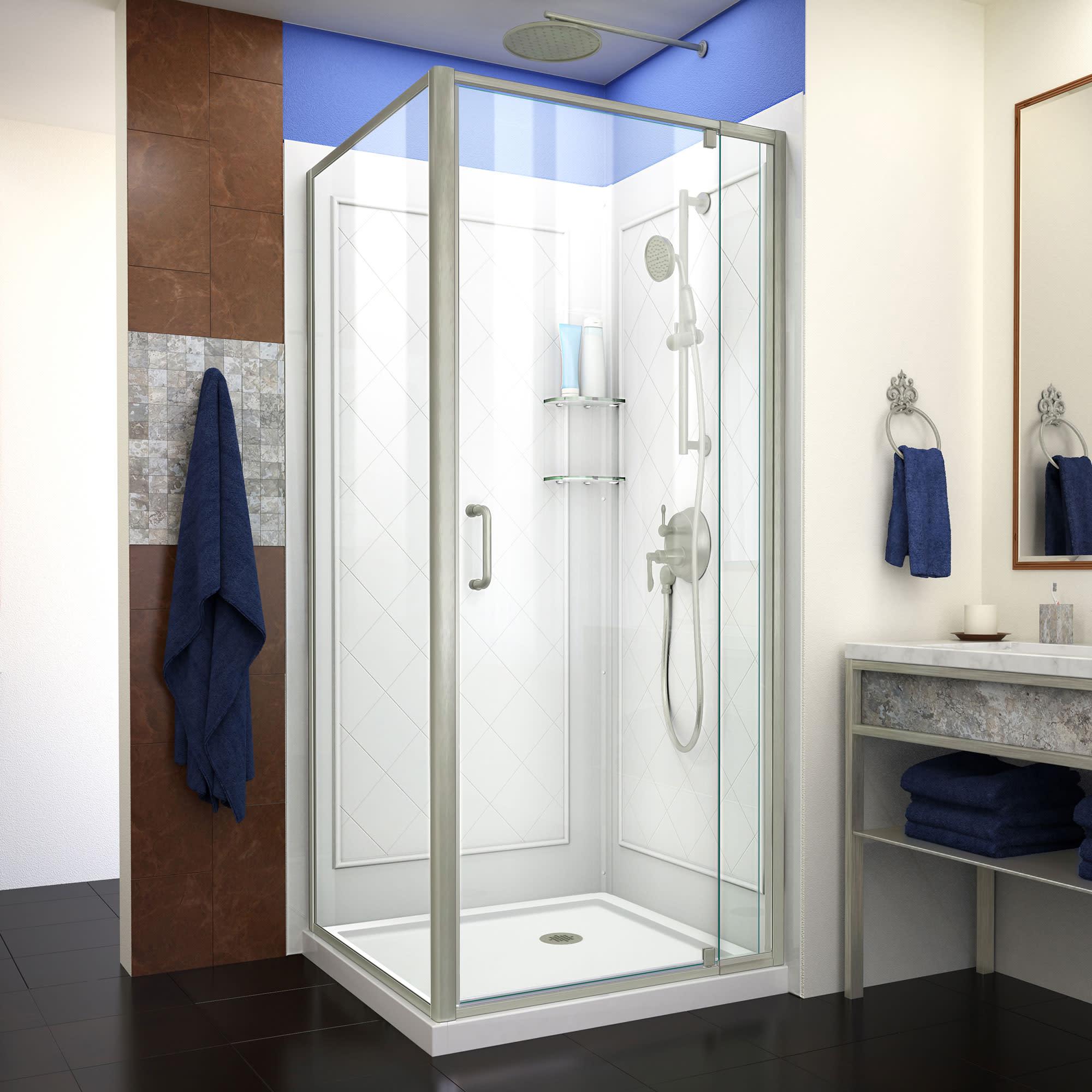 Dreamline Dl 6716 32 Flex Semi Frameless Shower Enclosure Corner Drain Base And Backwalls