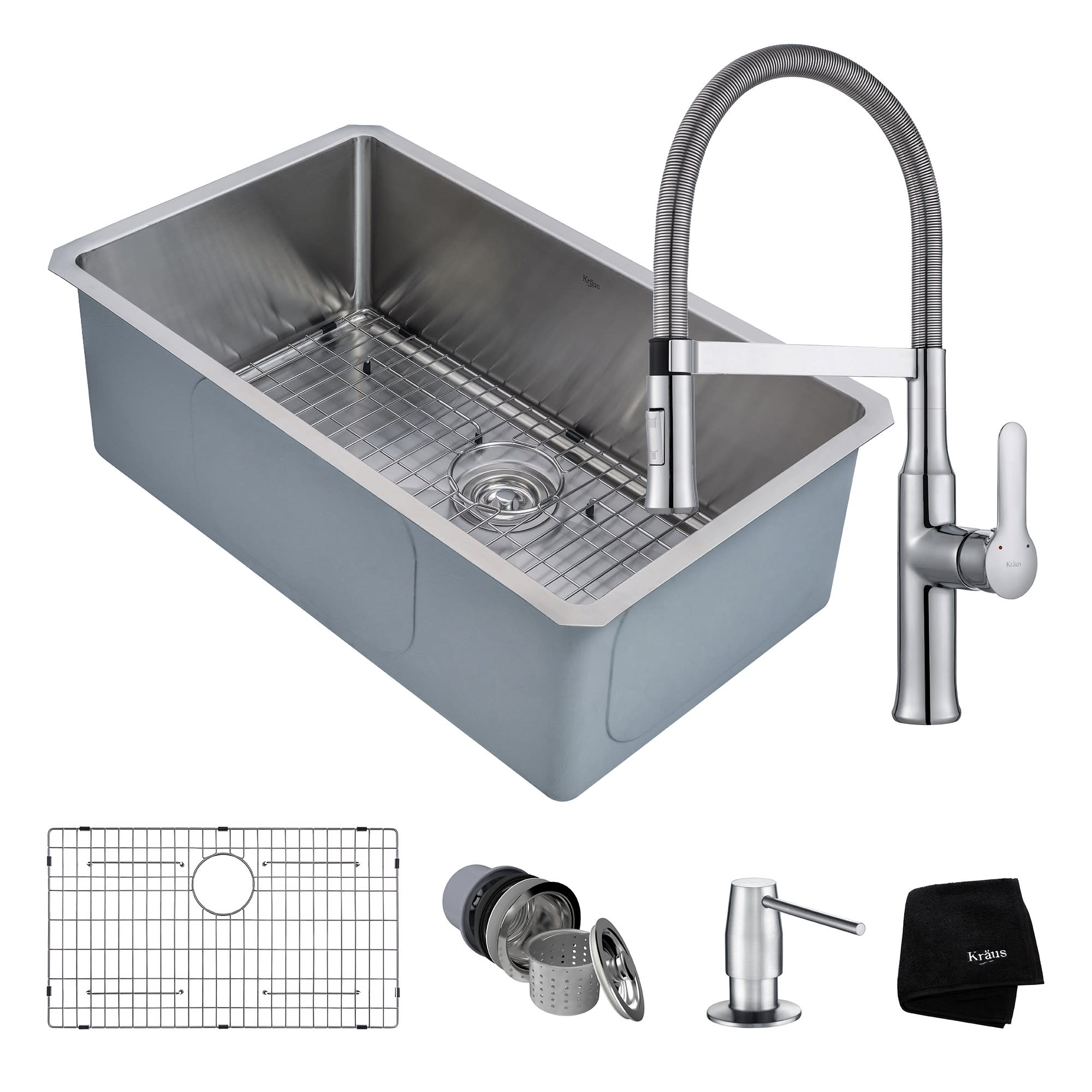 Kraus KHU100-30-1640-42CH Kitchen Sink Combo With Faucet And Soap ...