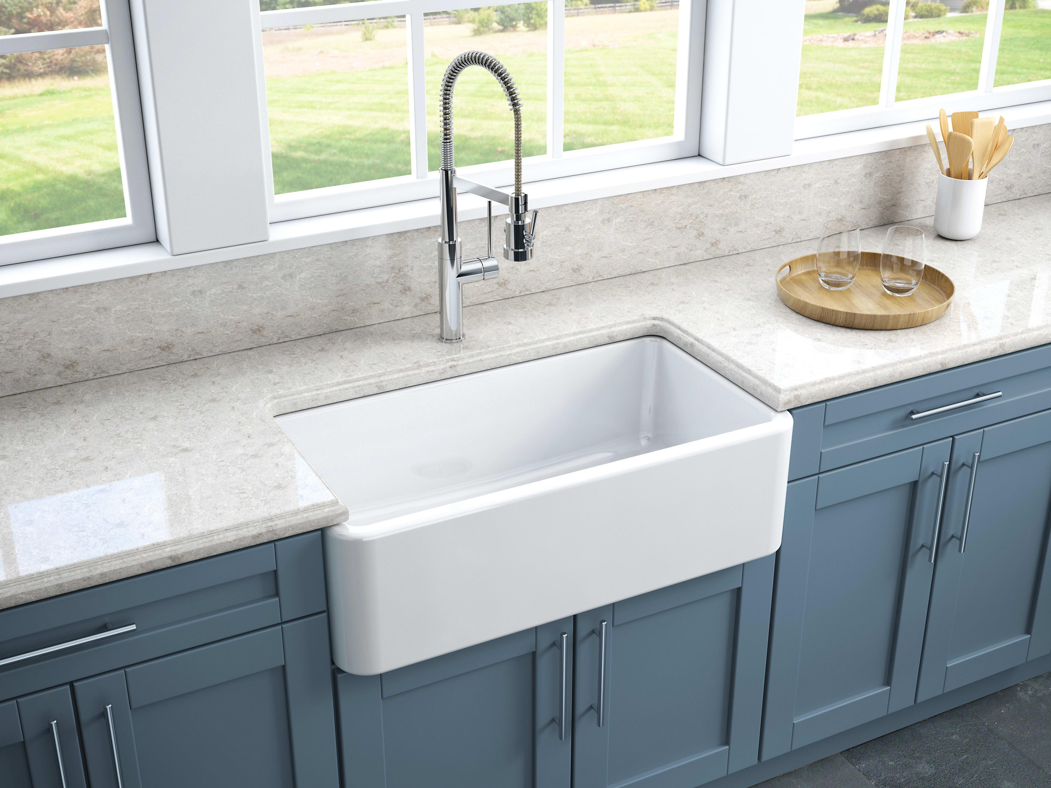 Latoscana Lfs3318 33 Reversible Fireclay Farmhouse Sink Qualitybath Com