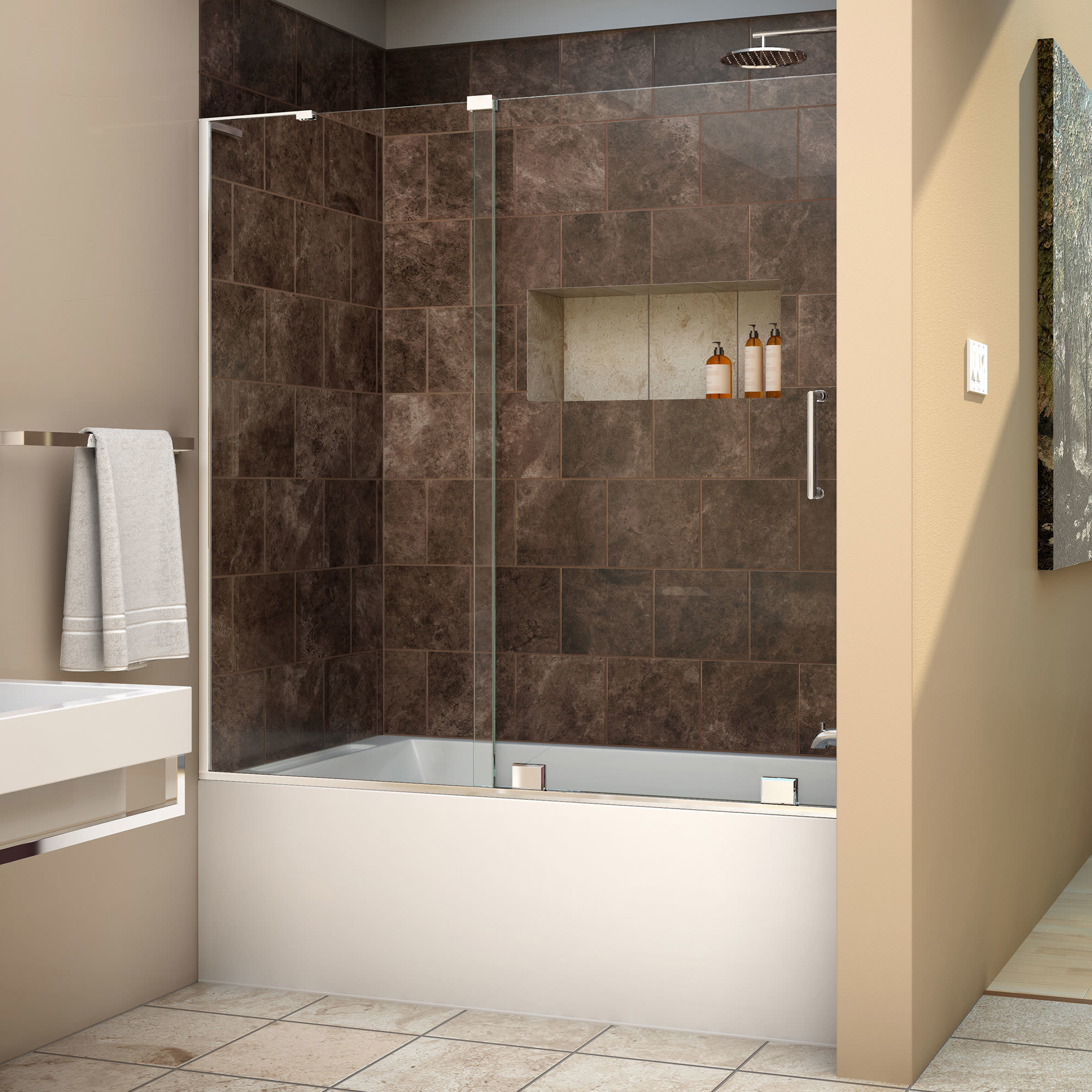 Dreamline Shdr 1960580 Mirage X 60 Sliding Tub Door With Stationary