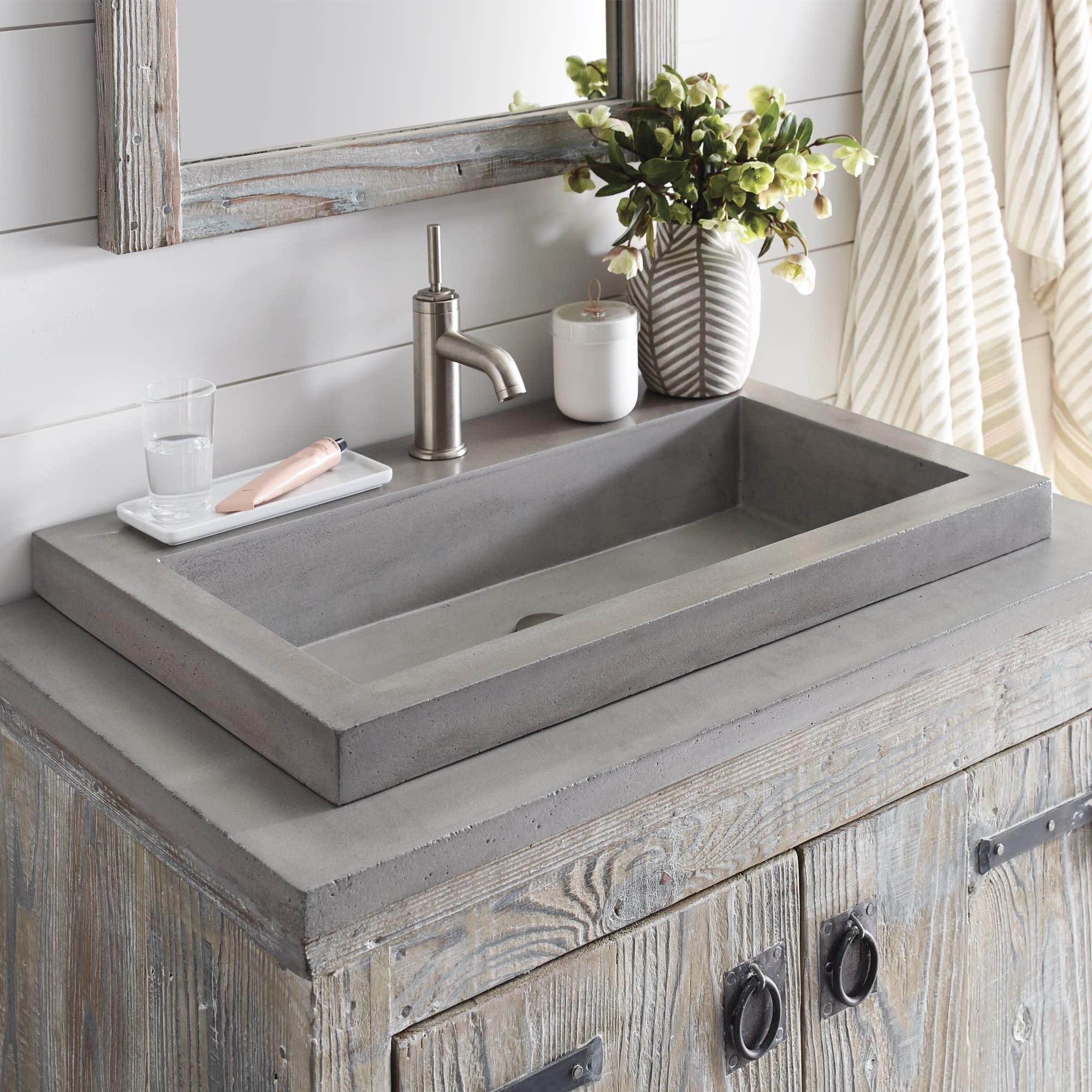 Native Trails Nsl3019 Ax Nativestone Trough Bathroom Sink Qualitybath Com