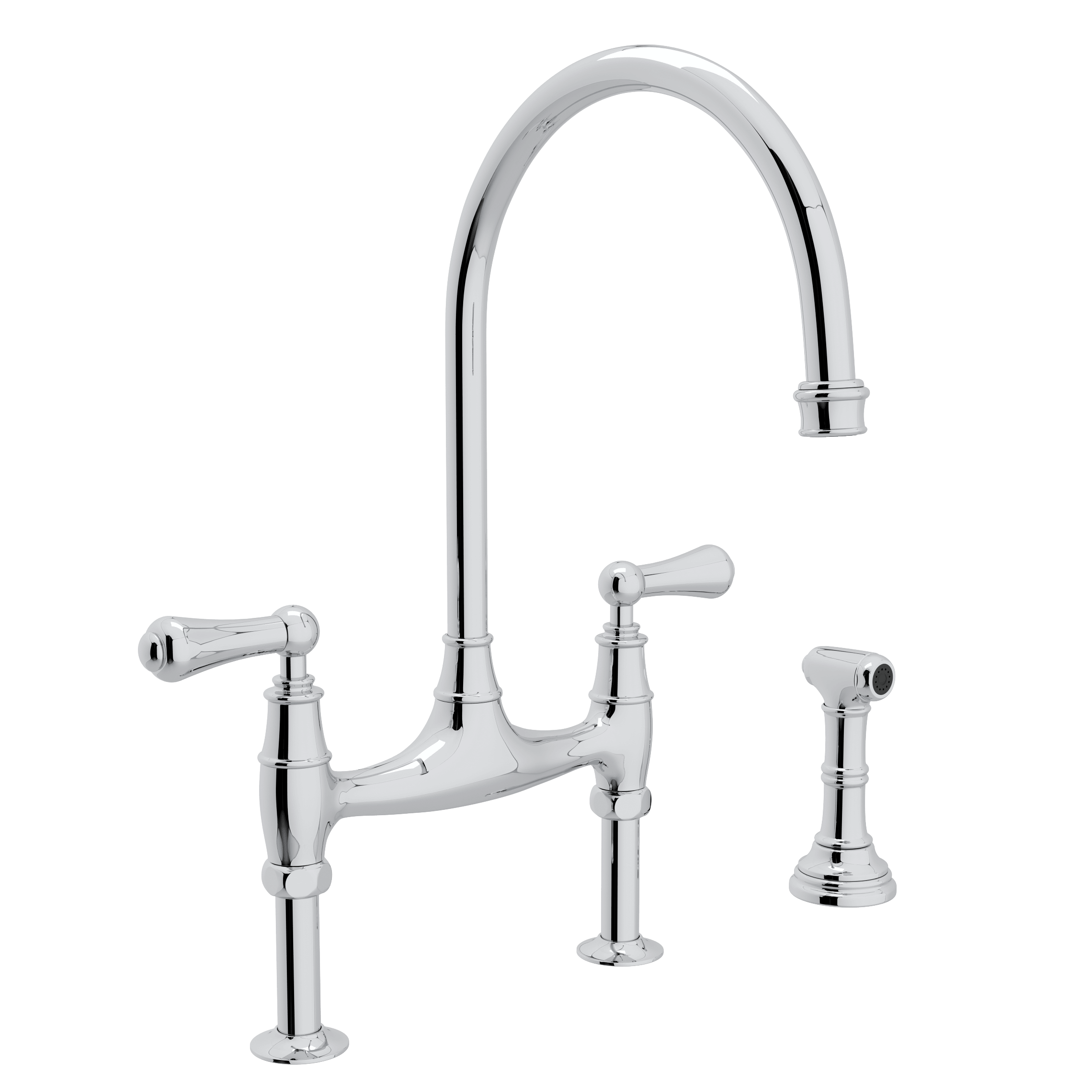 Rohl U.4718/U.4719 Perrin & Rowe Bridge Faucet With Sidespray ...