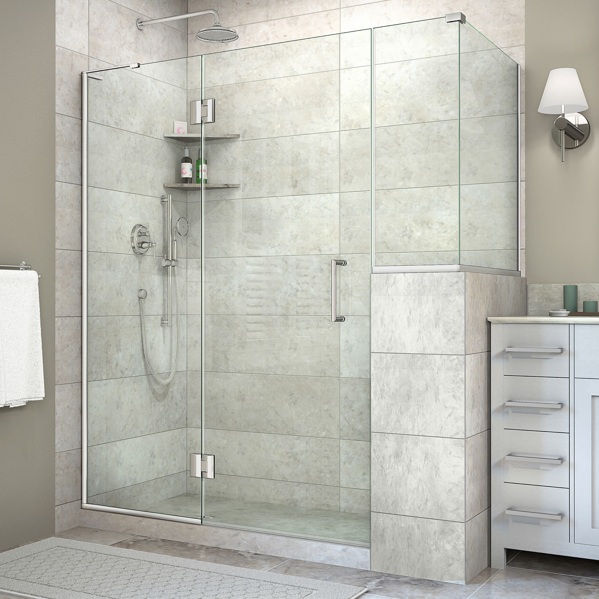clear with deep faucet high sliding steel enclosure x enigma frameless stainless shen brushed shower alternate image dreamline glass doors wide