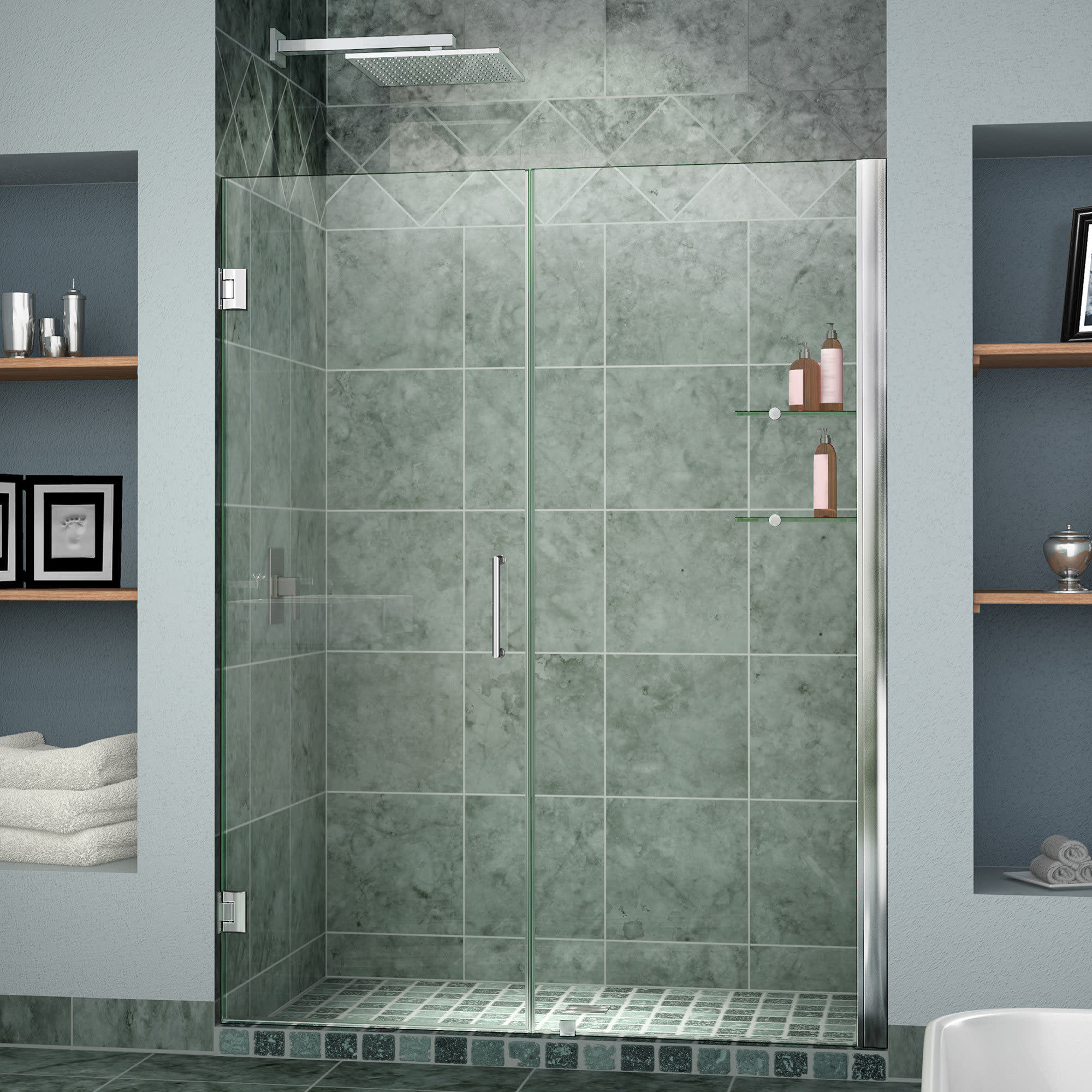 H Frameless Hinged Shower Door with Shelves in Oil Rubbed Bronze SHDR-20537210CS-06 W x 72 in DreamLine Unidoor 53-54 in