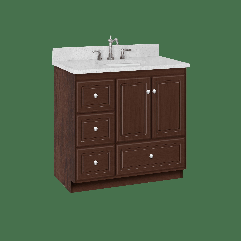 Strasser Woodenworks 21 194 Montlake 36 Vanity With Left Hand Drawers And Ultraline Doors Qualitybath Com
