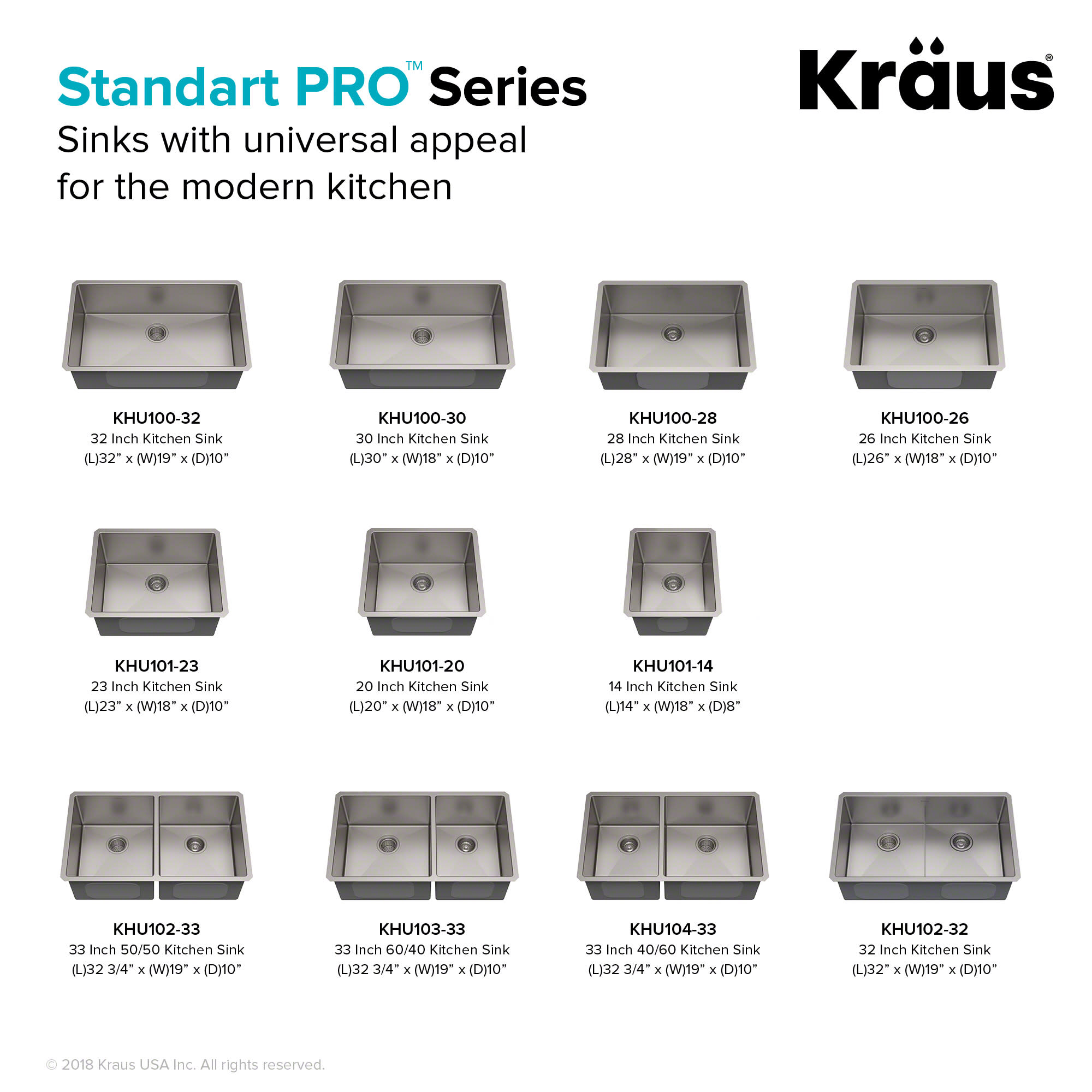 Kraus Khu100 26 Standart Pro 26 Undermount Single Bowl Stainless Steel Kitchen Sink With Noisedefend Soundproofing Qualitybath Com