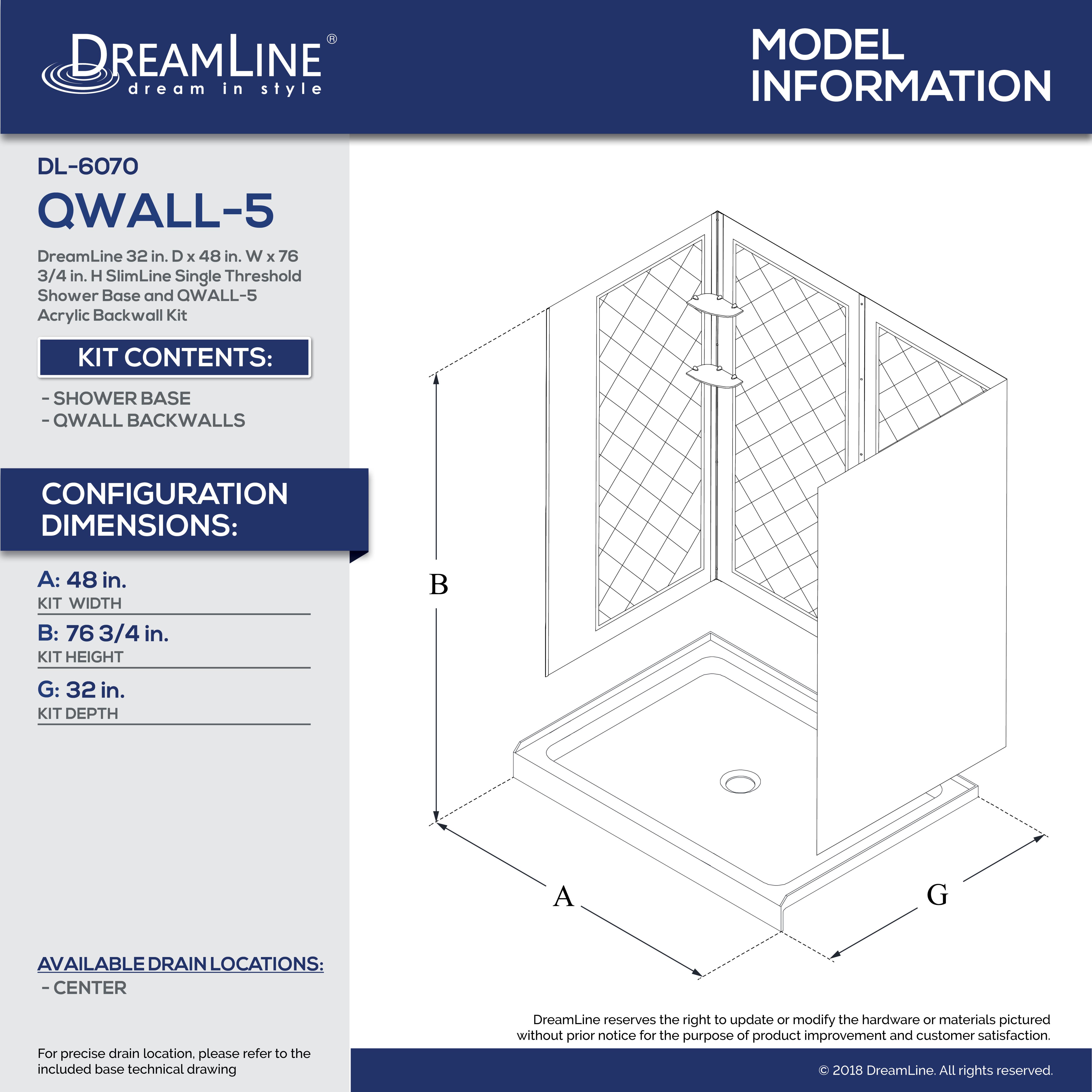 QWALL-5 Shower Base & Backwall Kit